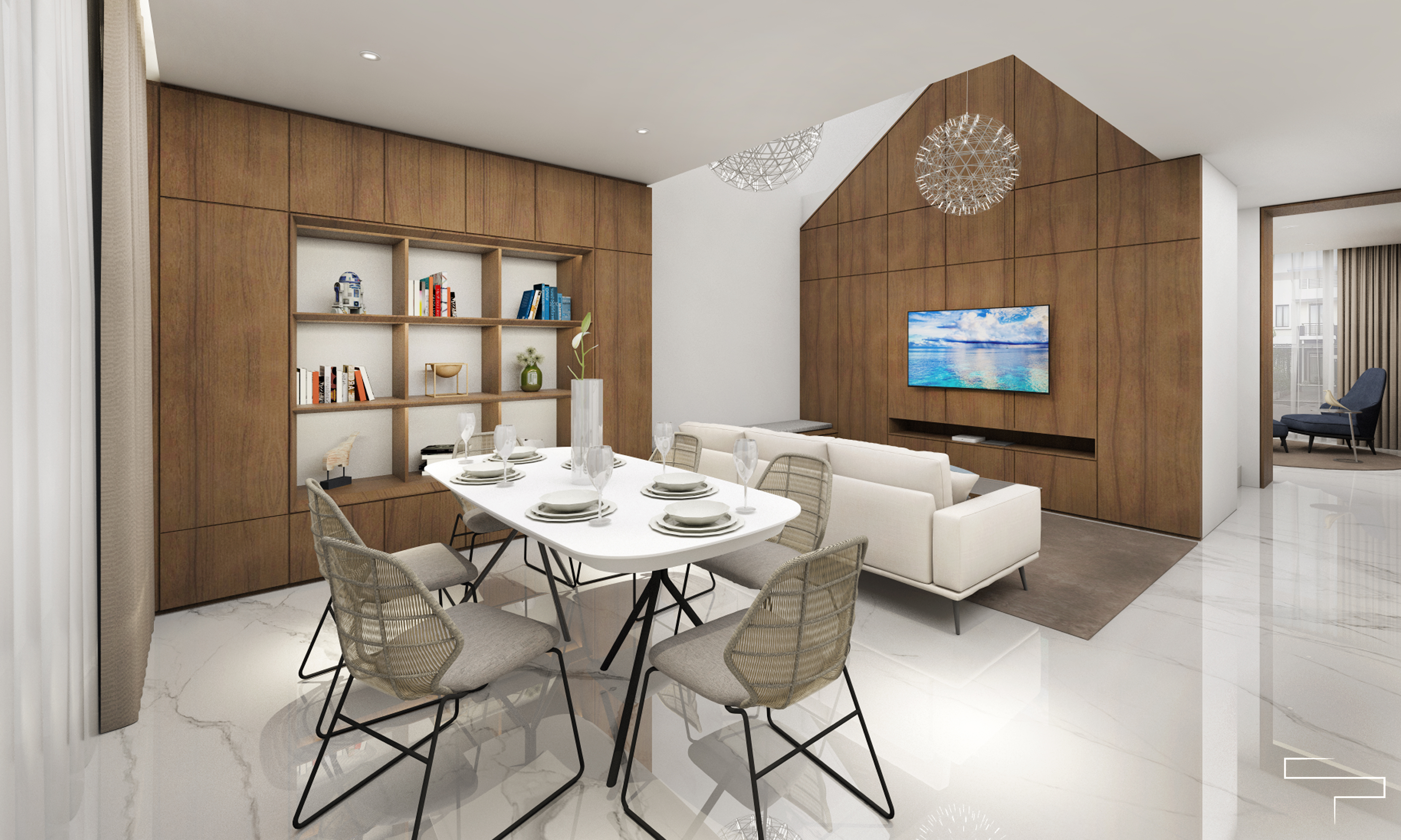 living and dining