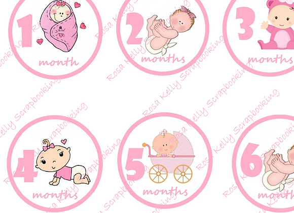 Baby Girl Month Tags