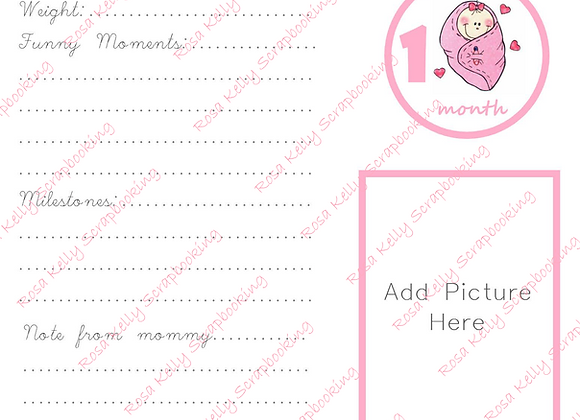 Baby Girl First Year Journaling Cards