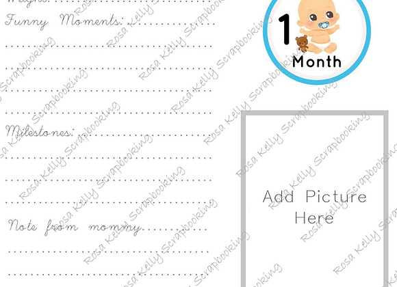 Baby Boy First Year Journaling Cards
