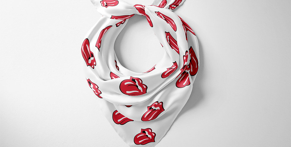 Rolling Stones White Square Scarf