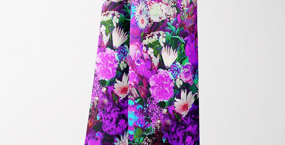 Flower Purple Chiffon Rectangle Scarf