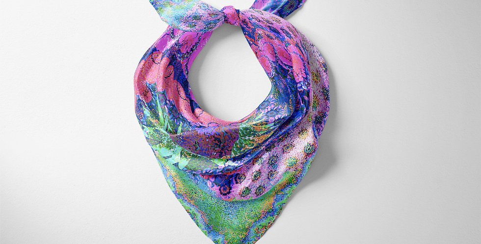 Rainbow in Blue Square Scarf