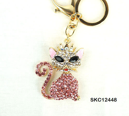 PINK CAT KEYCHAIN