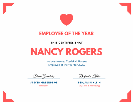 Nancy Rogers Named 2020 TZH Employee of the Year