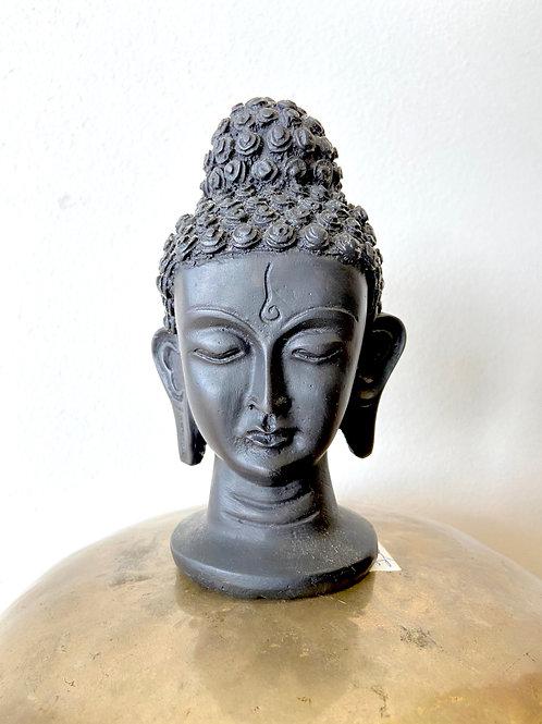 Cabeça Buda Sidarta Gautama em Resina - Cor Preto