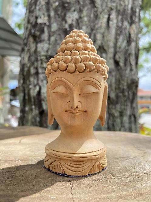 Cabeça de Buda de Madeira Pequena