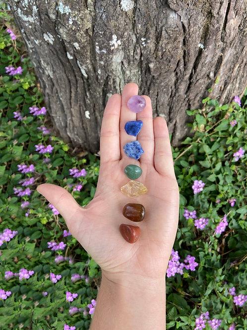 Kit 7 Pedras Roladas dos Chakras Pequenas