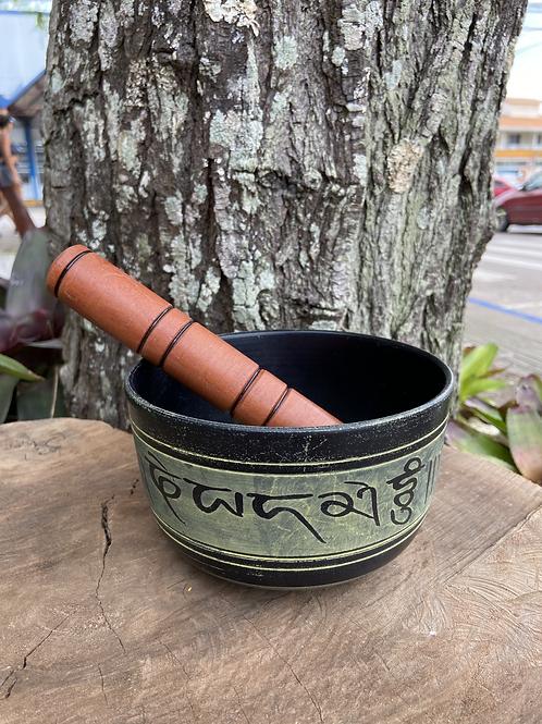 Tigela Tibetana/Orin Preta e Verde M