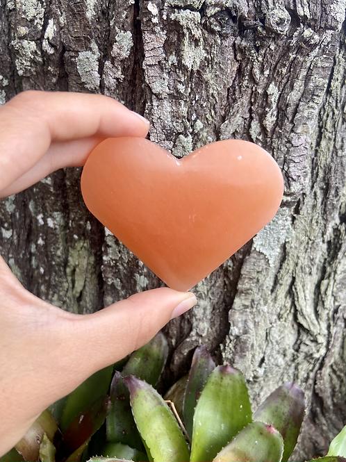 Coração de Selenita Laranja 029