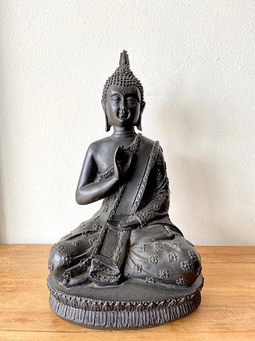 Estatueta Buda Sidarta Gautama em Resina - Cor Preto