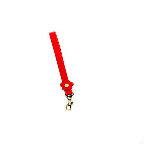 Red flower leather wrist strap 35cm