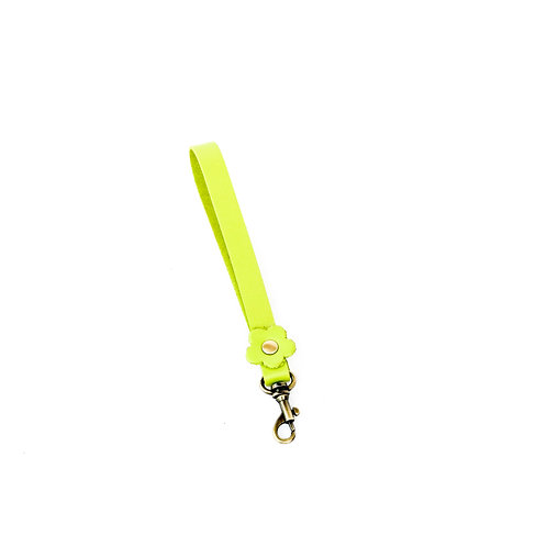 Lime flower leather wrist strap 35cm