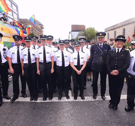 EGPA members wear uniform for the first time at Belfast Pride