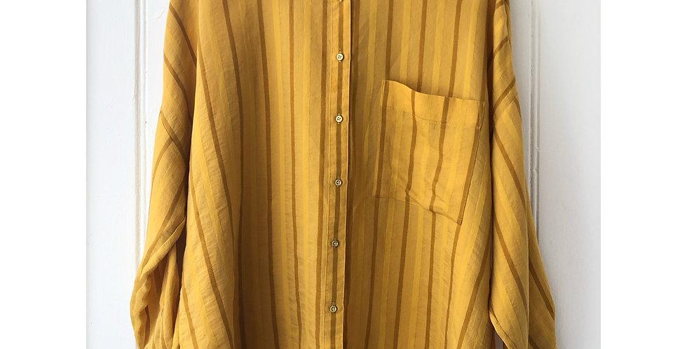 Mustard Yellow Striped Shirt Size UK 14
