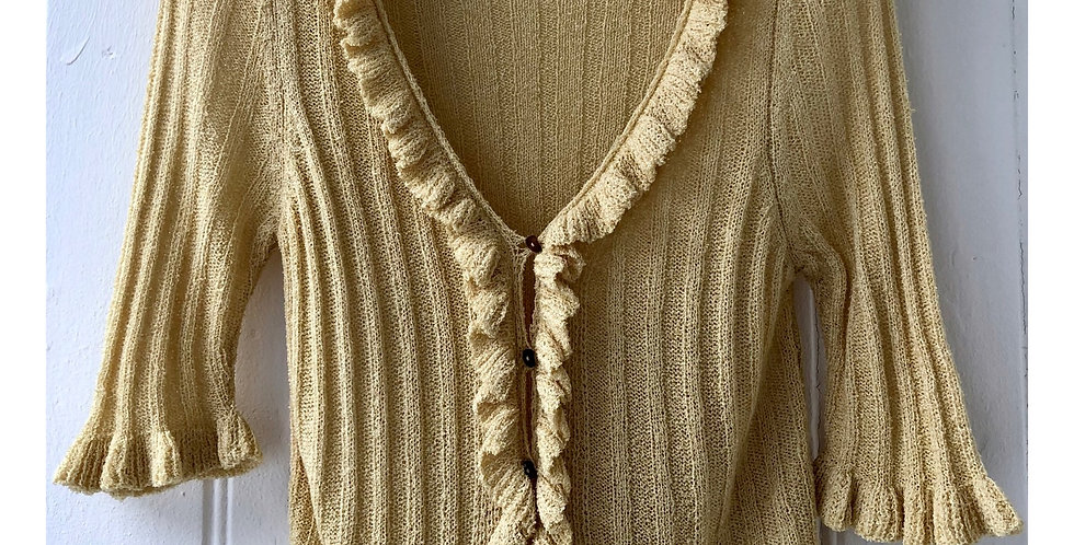 Cropped Cardigan With 3/4 Sleeves