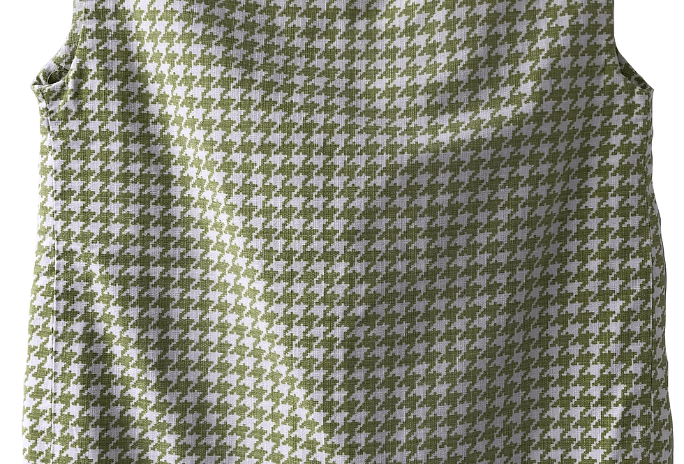 Lime Green/Pure White Checkered Top