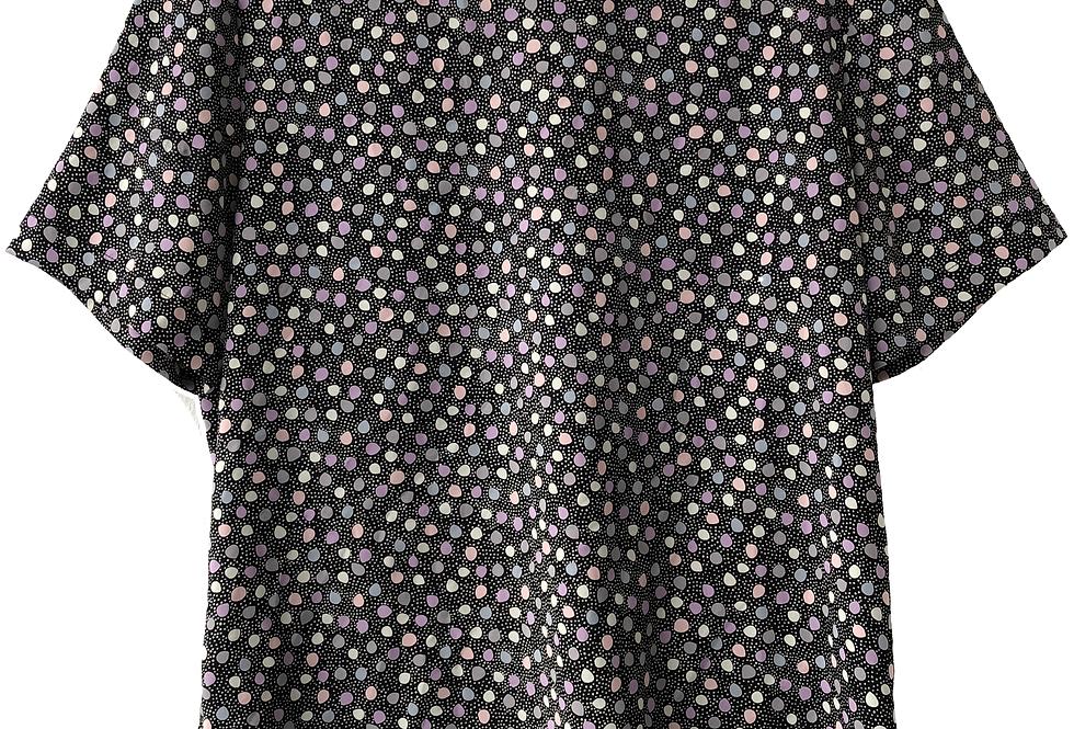 Polka Dot Abstract Top BlackWith Dreamy Pastel Pattern