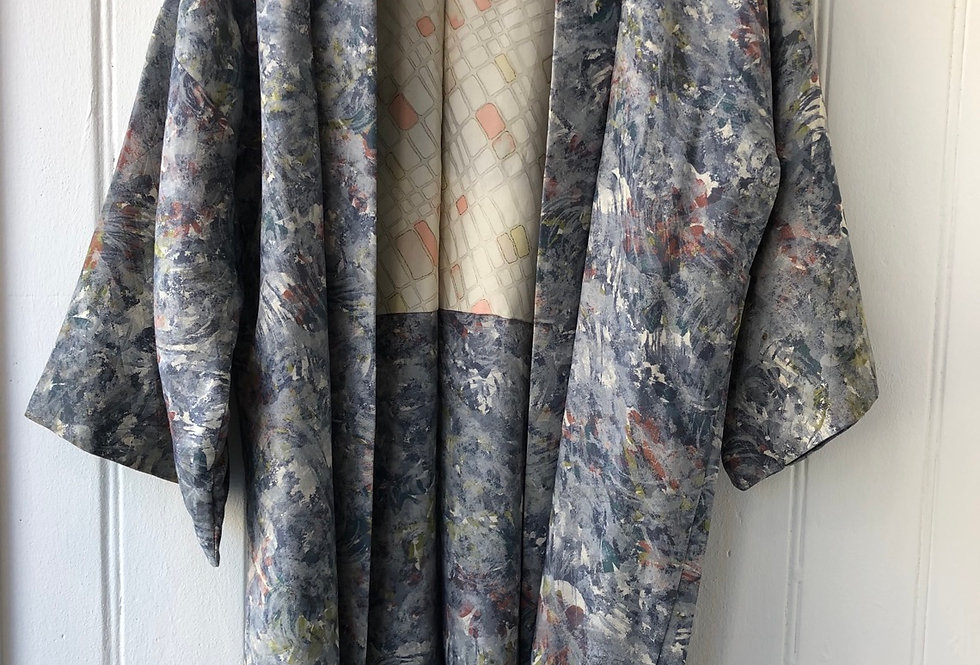 Abstract Print Vintage Kimono Size M