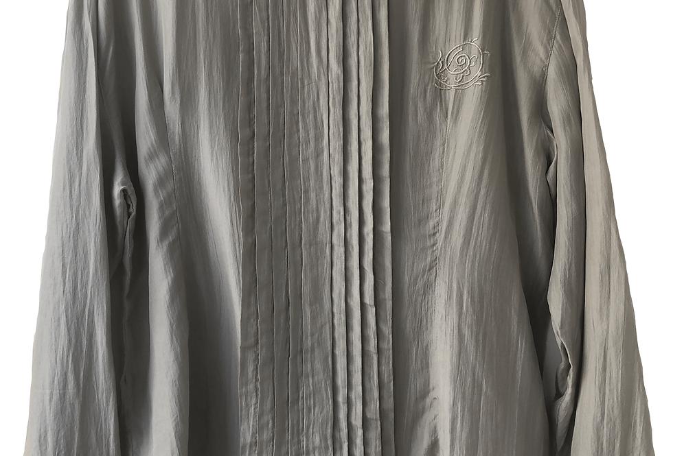 Grey Silk Long Sleeve Blouse
