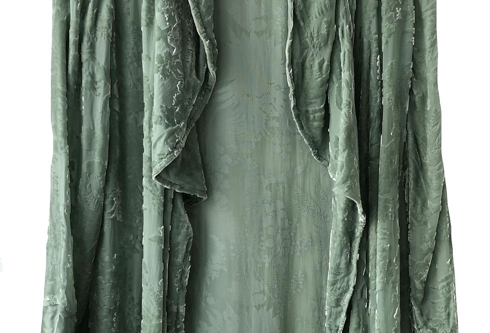 Velvet Kimono Jacket Pastel Pistachio, Mint Shade