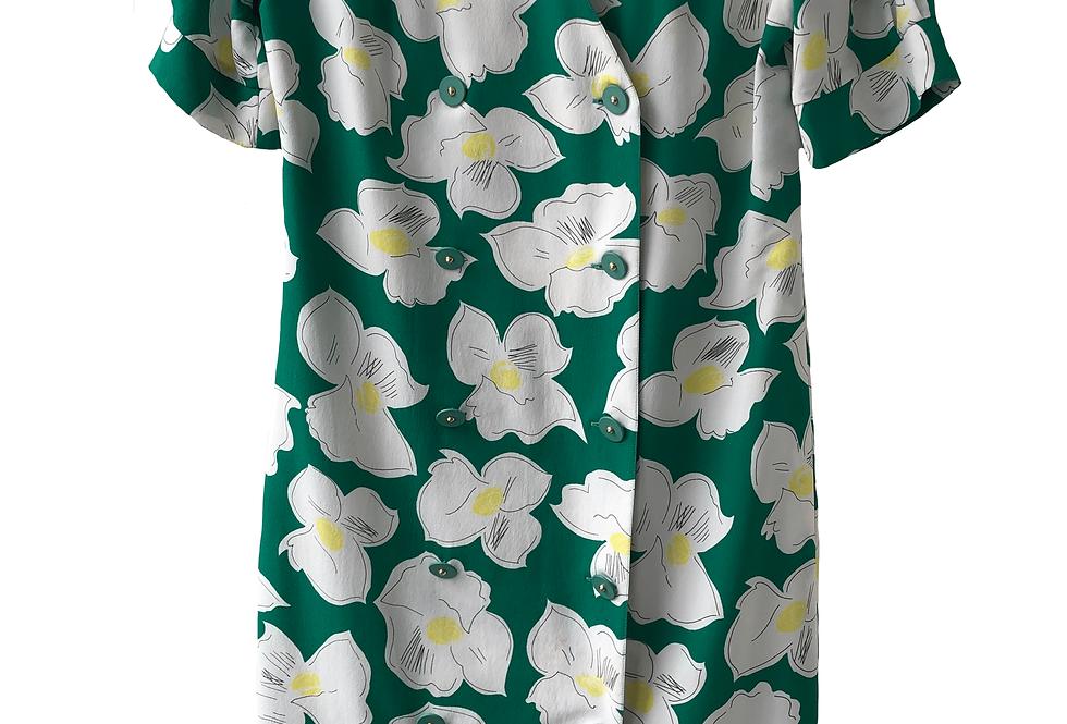 Vintage 60s Floral Pattern Midi Dress
