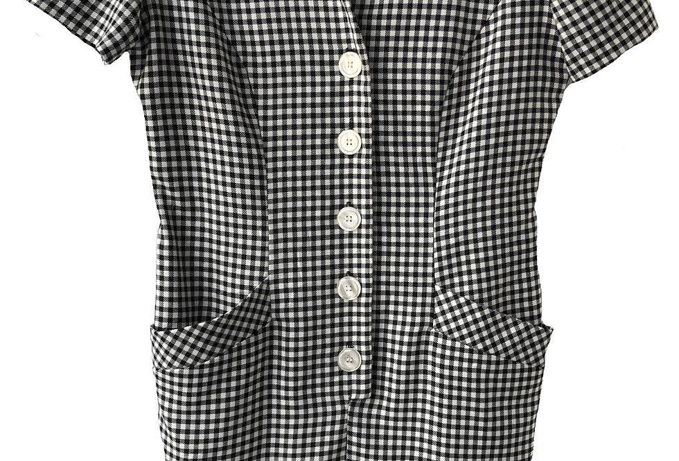Checkered Button Up Dress