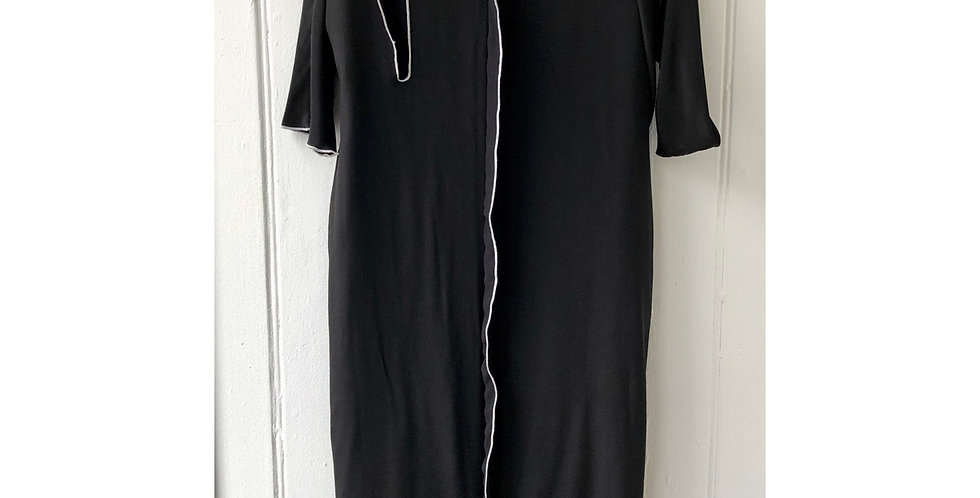 Asymmetrical Black Dress with White Stitching