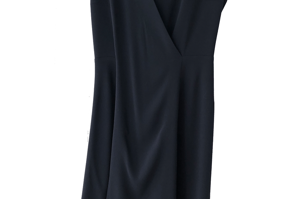 Draped Navy Blue Dress