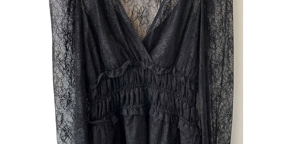 Black Laced Long Sleeve Top