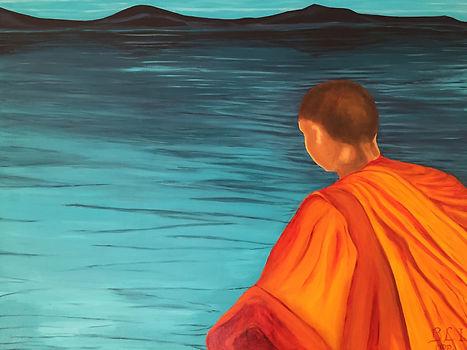 bonze méditation zen sagesse bouddhiste lac