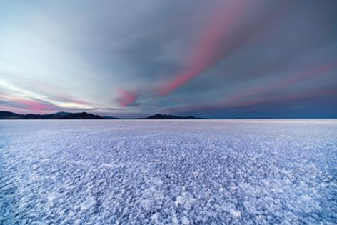 The Bonneville Salt Flats at twilight