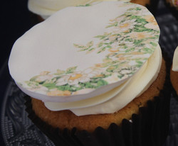 Edible floral image cupcakes