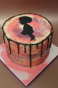 Afro Girl Silhouette Cake