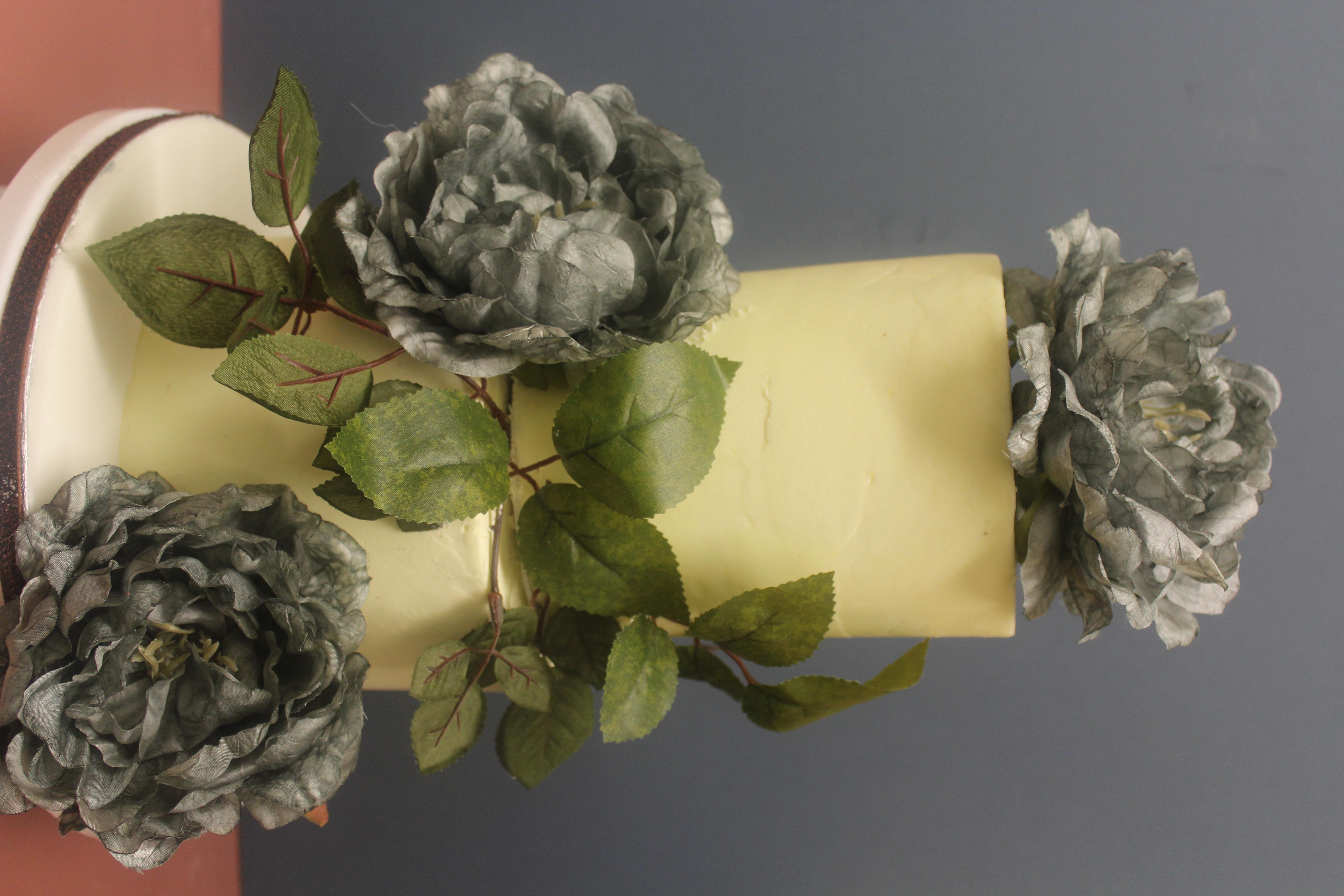 2 Tier Cake With Silk Flowers