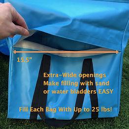 saddlebag showing easy fill opening