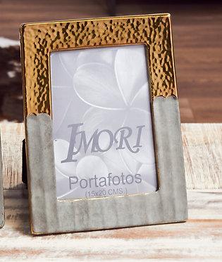 PORTAFOTOS CERAM. ORO/GRIS 15X20 CMS