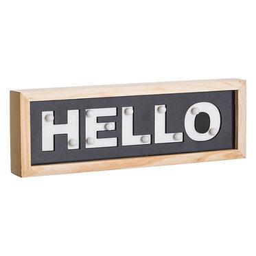 "MURAL PARED ""HELLO"" NEGRO 30X3.5X10"