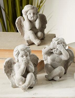 ANGELITOS CEMENTO SET DE 3 14CMT