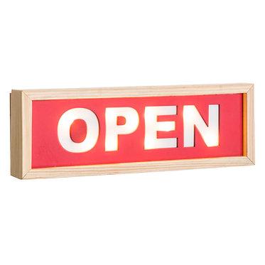 "MURAL PARED ""OPEN"" ROJO 30X3.5X10"