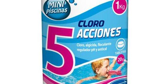 Tamar Cloro 5 Acciones, Tabletas Multifuncion de 20 grs, Especial para Mini Pisc