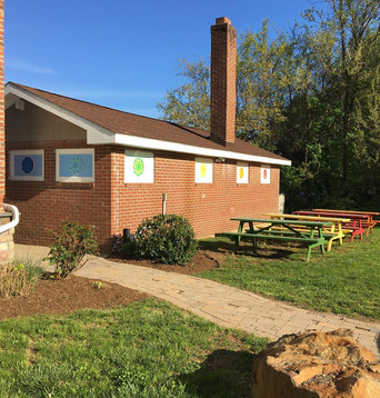 Annex building and picnic tables