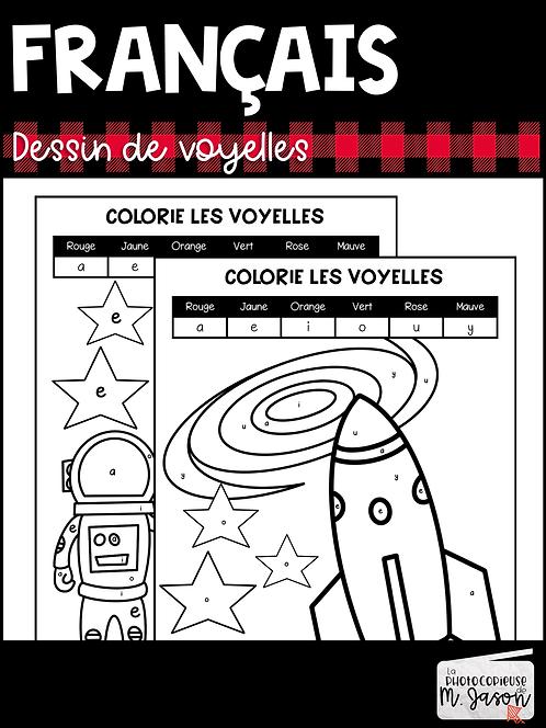 Français: Colorie les voyelles // 1er cycle