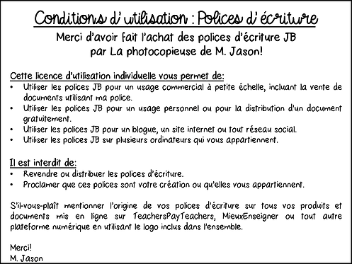 Polices JB // Conditions d'utilisation
