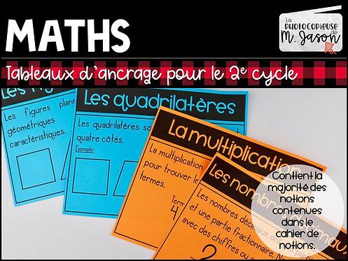 Maths: Tableaux d'ancrage //2e cycle
