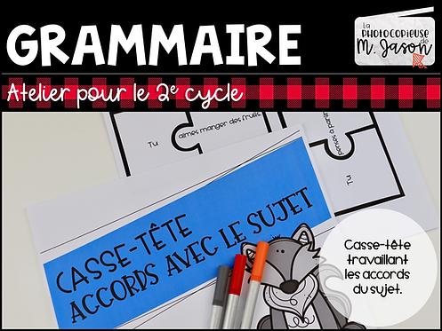 Atelier français: Casse-tête Accord sujet