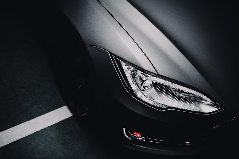 Modern car wrapped in grey color matte v