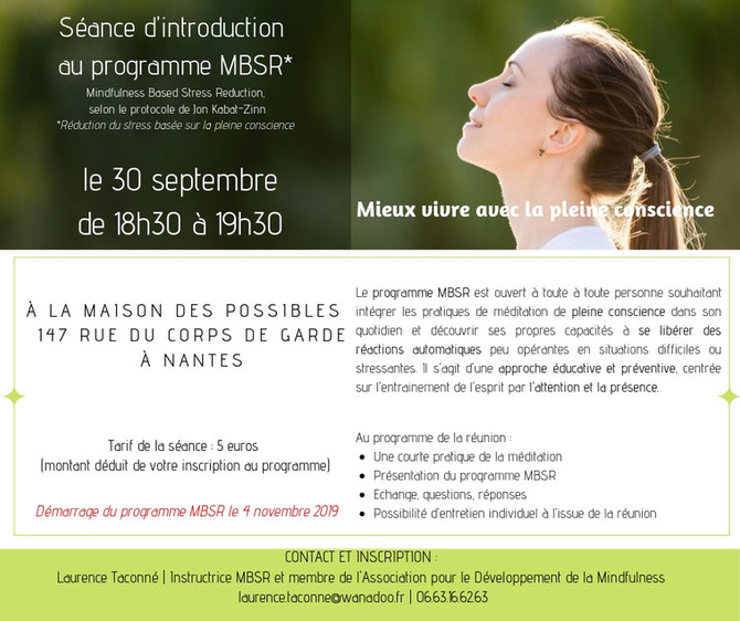 Séance d'introduction au programme MBSR