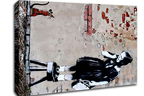 'Banksy girl on chair' Heated Canvas
