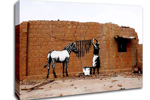 'Banksy Zebra ' Heated Canvas